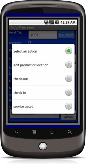 mobile inventory management app actions